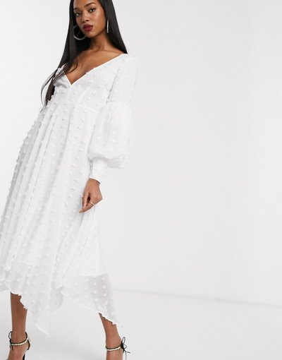 Crema donna Vestito midi con maniche voluminose testurizzato a pois - ASOS EDITION - Crema