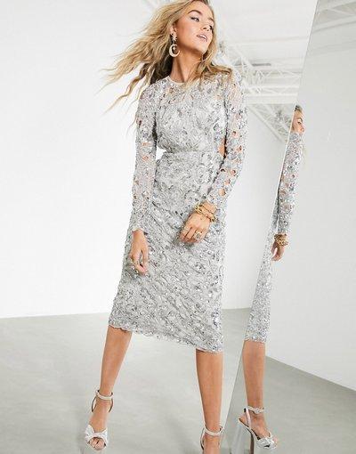 Argento donna Vestito midi con paillettes, schiena scoperta e cut - ASOS EDITION - Argento - out