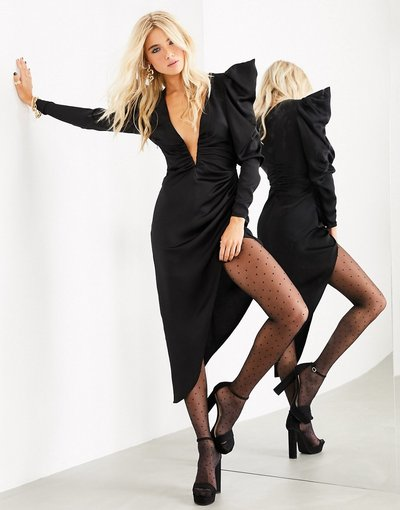 Eleganti pantaloni Nero donna Vestito midi con scollo molto profondo in raso nero - ASOS EDITION