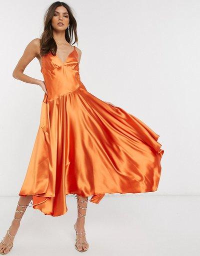 Arancione donna Vestito midi con spalline sottili e cuciture - ASOS EDITION - Arancione