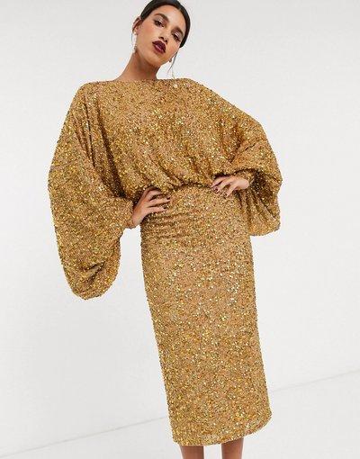 Oro donna Vestito midi di paillettes con maniche oversize - ASOS EDITION - Oro