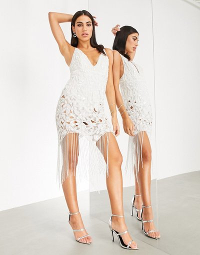 Bianco donna Vestito midi di paillettes con spalline sottili, frange e cut - ASOS EDITION - Bianco - out