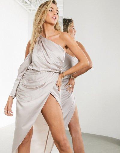 Grigio donna Vestito midi drappeggiato monospalla - ASOS EDITION - Grigio