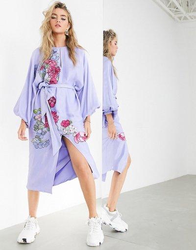Blu donna Vestito midi in raso ricamato a fiori con cintura - ASOS EDITION - Blu