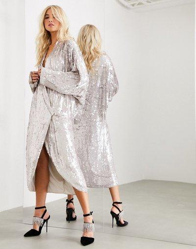 Argento donna Vestito midi oversize a portafoglio decorato con maniche drappeggiate - ASOS EDITION - Argento