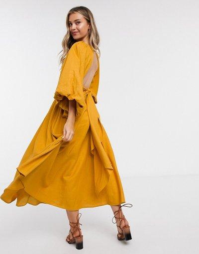 Giallo donna Vestito midi senape in lino con maniche oversize - ASOS EDITION - Giallo