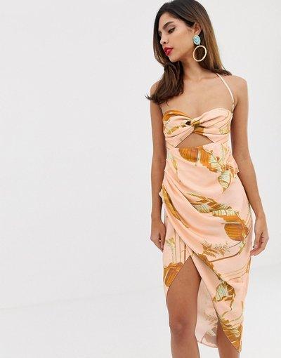 Multicolore donna Vestito midi stampato con spalline sul retro - ASOS EDITION - Multicolore