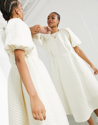 Crema donna Vestito midi trapuntato, colore crema - ASOS EDITION