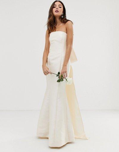 Bianco donna Vestito a fascia con fiocco sul retro - ASOS EDITION Wedding - Bianco