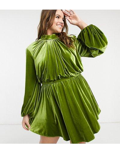 Verde donna Vestito skater corto accollato con maniche a campana in velluto verde - ASOS Luxe Curve