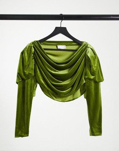 Camicia Verde donna Top in velluto a maniche lunghe con scollo ad anello verde - ASOS Luxe