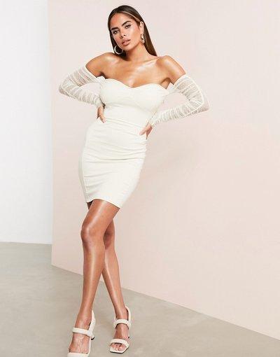 Pietra donna Vestito corto grigio pietra a fascia con maniche in rete plumetis e scollo Bardot - ASOS LUXE