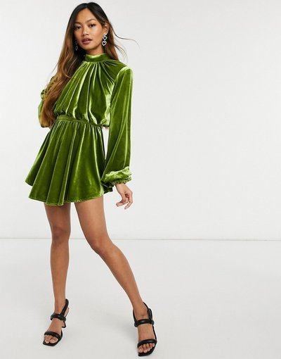 Verde donna Vestito skater corto accollato con maniche a campana in velluto verde - ASOS Luxe