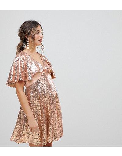Oro donna Vestitino in pizzo con maniche svasate e paillettes - ASOS Maternity - Oro