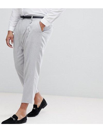 Grigio uomo Pantaloni eleganti stretti in fondo in tessuto puntinato grigio ghiaccio con tratteggio incrociato - ASOS PLUS