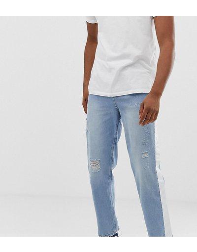 Jeans Blu uomo Jeans stile skater lavaggio chiaro con abrasioni e riga laterale - ASOS TALL - Blu