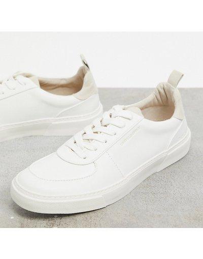 Sneackers Grigio pietra uomo Sneakers a pianta larga bianche con dettaglio color pietra sul tallone - ASOS Unrvlld Spply Wide Fit - Grigio pietra