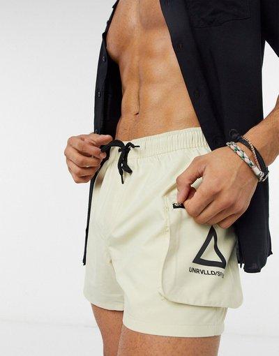 Costume Beige uomo Pantaloncini da bagno cargo corti color pietra con logo - ASOS Unrvlld Supply - Beige