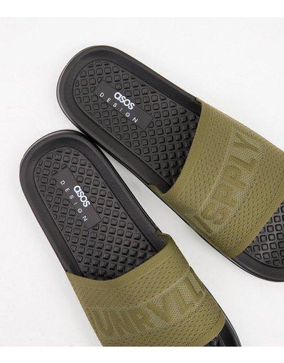 Novita Verde uomo Sliders in maglia kaki - ASOS Unrvlled Spply - Verde