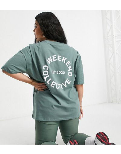 T-shirt Verde donna shirt oversize con logo, color kaki - Weekend Collective Curve - ASOS - Verde - T