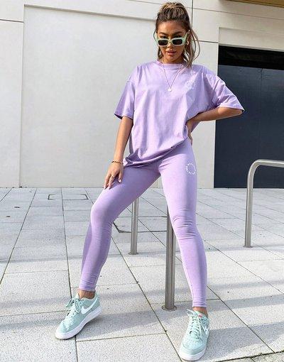 T-shirt Multicolore donna Shirt oversize con logo ricamato tono su tono lilla in coordinato - Weekend Collective - Multicolore - ASOS - T