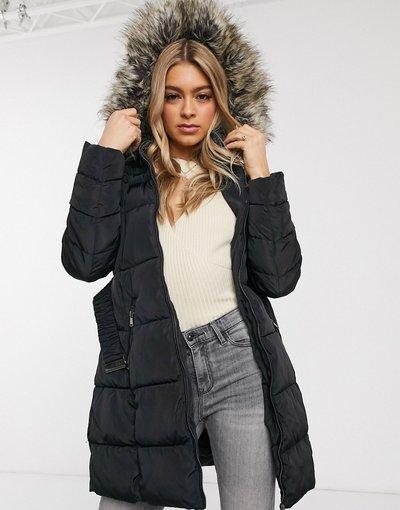 Nero donna Piumino lungo con cintura e pelliccia sintetica sul cappuccio - AX Paris - Nero