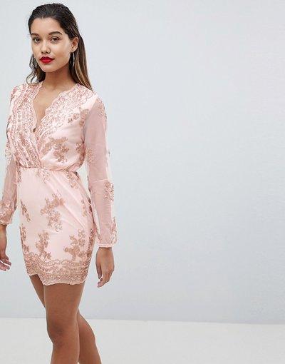 Rosa donna Vestito a fascia a maniche lunghe decorato - AX Paris - Rosa