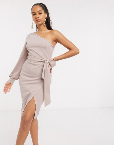 Beige donna Vestito corto monospalla visone - AX Paris - Beige