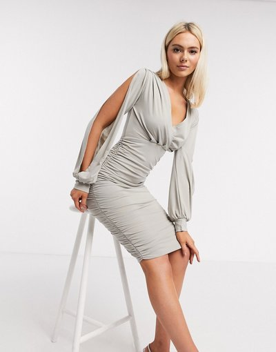 Argento donna Vestito midi con maniche aperte argento - AX Paris