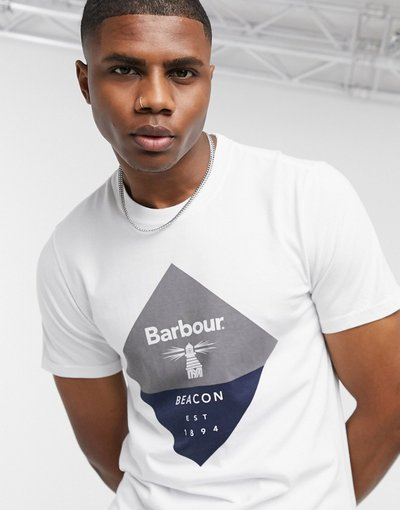 T-shirt Bianco uomo shirt bianca con grande logo romboidale - Barbour Beacon - Bianco - T