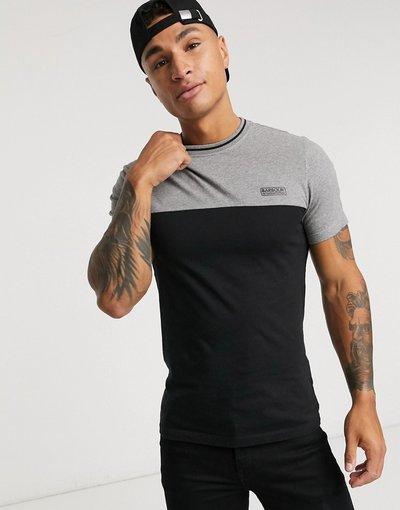 T-shirt Nero uomo shirt color block nera con bordi a contrasto - Barbour International - Nero - T