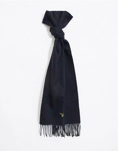 Nero uomo Sciarpa in lana d'agnello nera tinta unita - Barbour - Nero