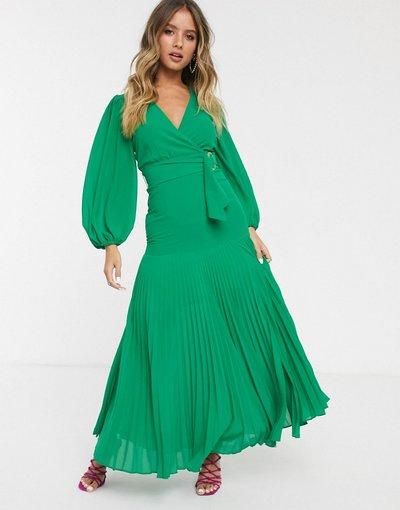 Verde donna Vestito lungo verde acceso con cintura e spacco sulla coscia - Bardot