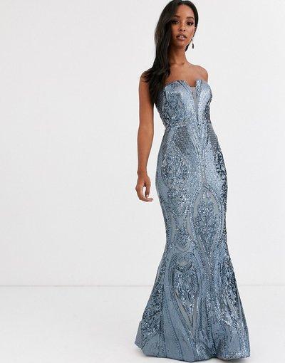 Blu donna Vestito a fascia aderente con paillettes blu antico - Bariano