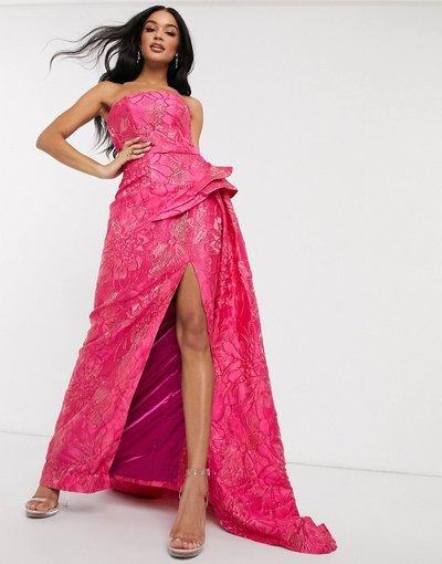 Vestito da cerimonia Rosa donna Vestito da prom a fascia con spacco profondo in jacquard rosa - Bariano