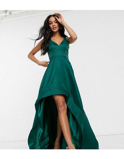 Vestito da cerimonia Verde donna Vestito da prom asimmetrico verde smeraldo con dettaglio a ruota in organza - Bariano