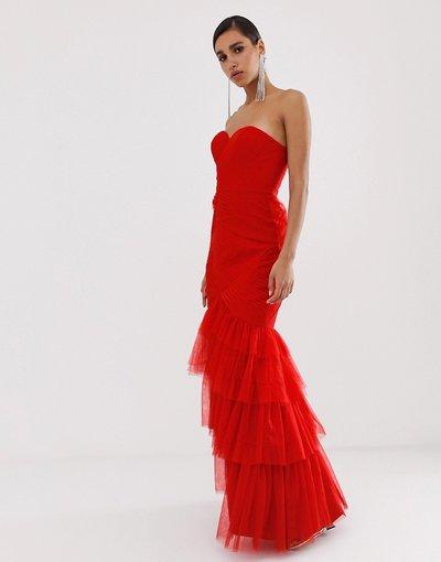Rosso donna Vestito lungo a fascia in tulle a strati rosso con scollo a cuore - Bariano