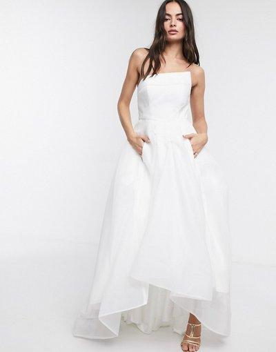 Bianco donna Vestito lungo a ruota con bustino in organza bianco - Bariano