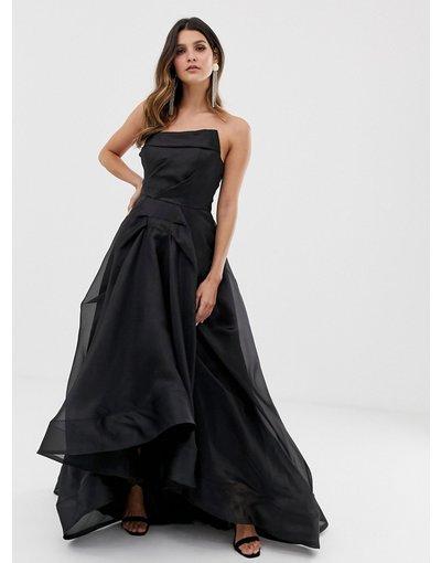 Nero donna Vestito lungo a ruota con corpino in organza nero - Bariano