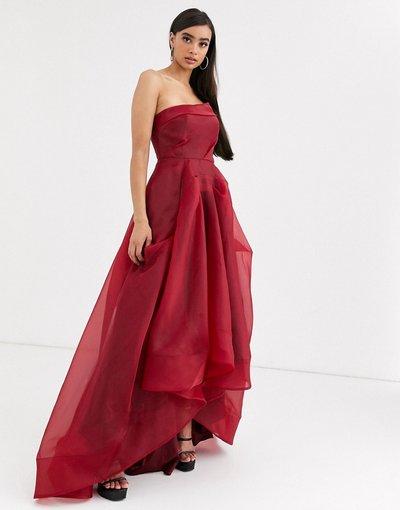 Rosso donna Vestito lungo a ruota con dettaglio in organza sul petto rosso vino - Bariano