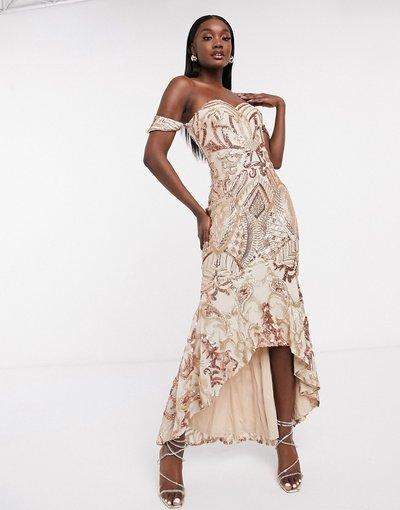 Oro donna Vestito lungo con scollo alla Bardot, taglio asimmetrico e motivo con paillettes oro rosa - Bariano