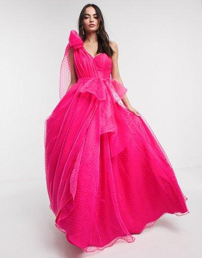 Rosa donna Vestito lungo da prom a ruota monospalla fucsia con fiocco rimovibile in vita - Bariano - Rosa
