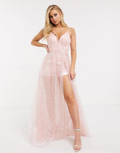 Rosa donna Vestito lungo in rete con paillettes e spalline sottili cipria - Bariano - Rosa