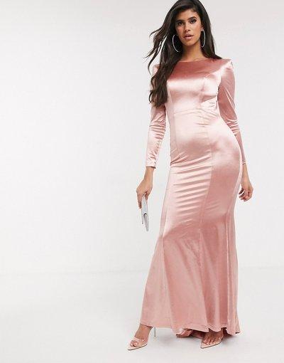 Rosa donna Vestito lungo sinuoso e lucido a maniche lunghe oro rosa - Bariano