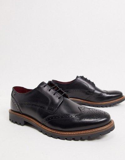 Scarpa elegante Nero uomo Scarpe stringate in pelle nera - Base London - Grundy - Nero