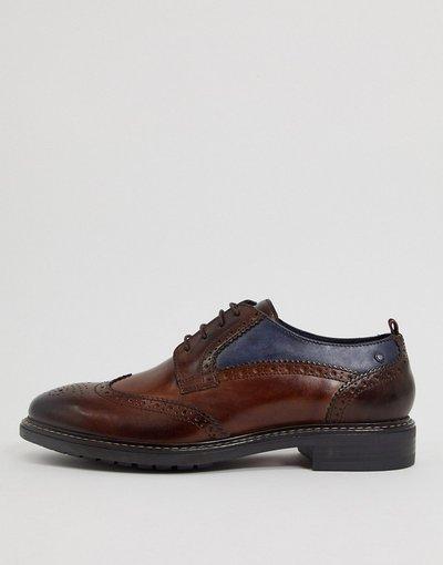 Scarpa elegante Marrone uomo Scarpe brogue in pelle marrone - Base London - Lennox