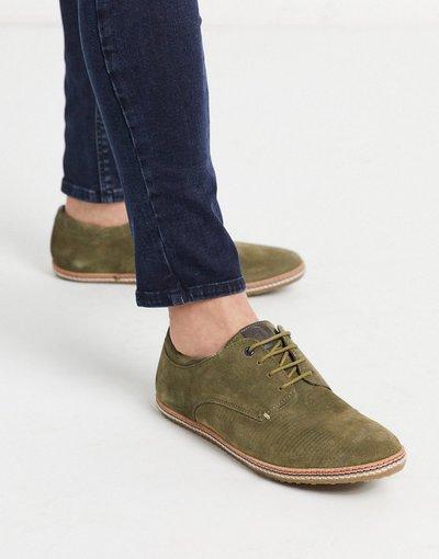 Novita Verde uomo Scarpe stringate in camoscio kaki - Base London - Mavern - Verde