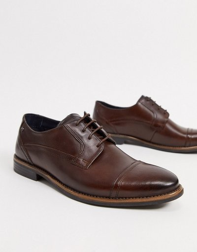 Scarpa elegante Marrone uomo Scarpe stringate con punta in pelle marrone - Base London - Navara