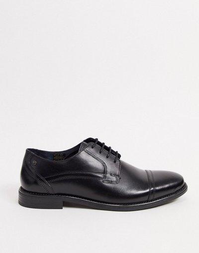 Sneackers Nero uomo Scarpe stringate con punta in pelle nere - Base London - Navara - Nero