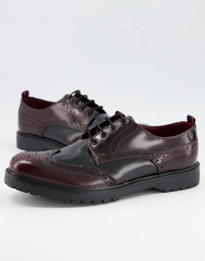 Scarpa elegante Nero uomo Scarpe brogue lucide bordeaux combinato - Base London - Riddle - Nero
